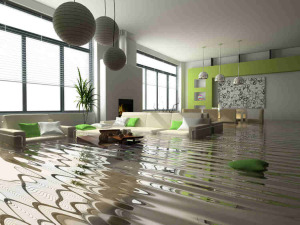 living room in flood